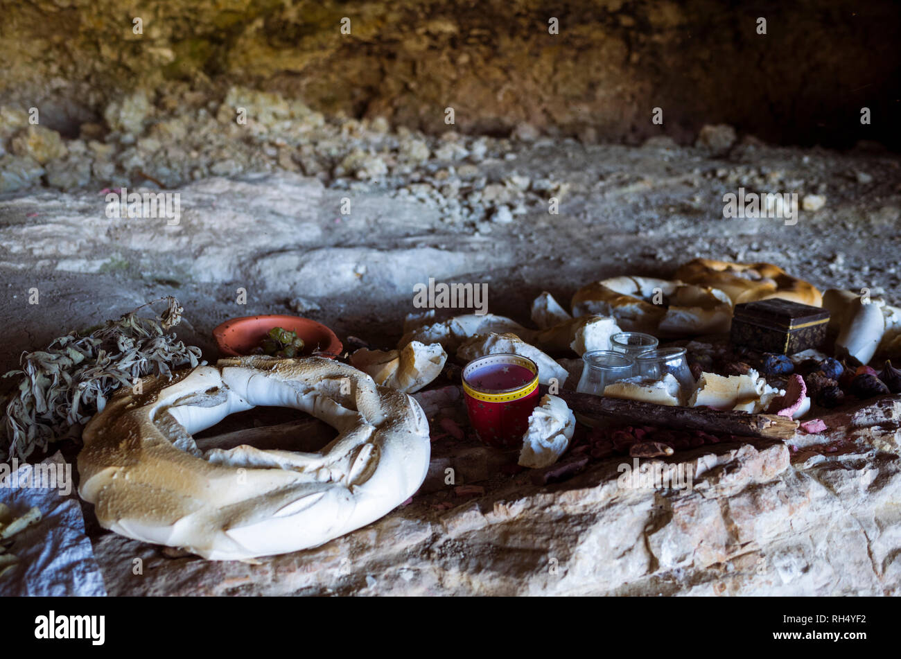 Castellar, Jaen province, Andalusia, Spain : Food offerings during the annual romeria to the IV century BC Iberian cave santuary known as Cueva de la  - Stock Image