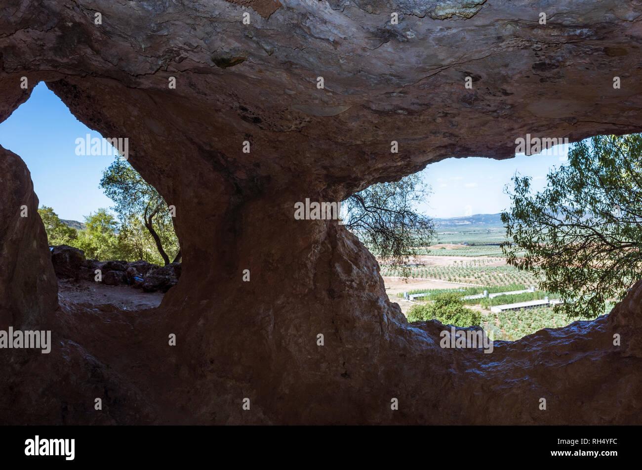Castellar, Jaen province, Andalusia, Spain : IV century BC Iberian cave santuary known as Cueva de la Lobera where numerous Iberian votive offerings h Stock Photo