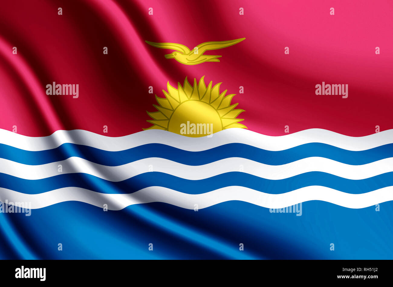 Kiribati modern and realistic closeup 3D flag illustration. Perfect for background or texture purposes. - Stock Image