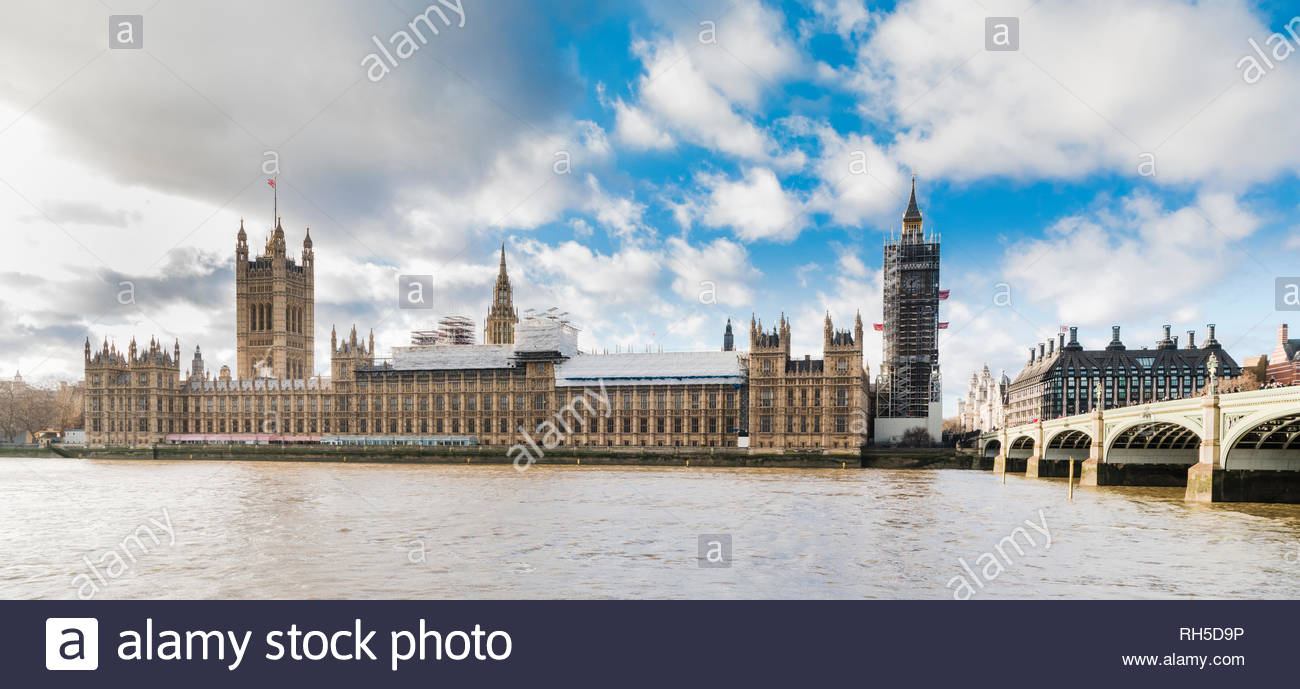 The Palace of Westminster (UK Parliament) with scaffolding undergoing renovation works in January 2018 - Stock Image