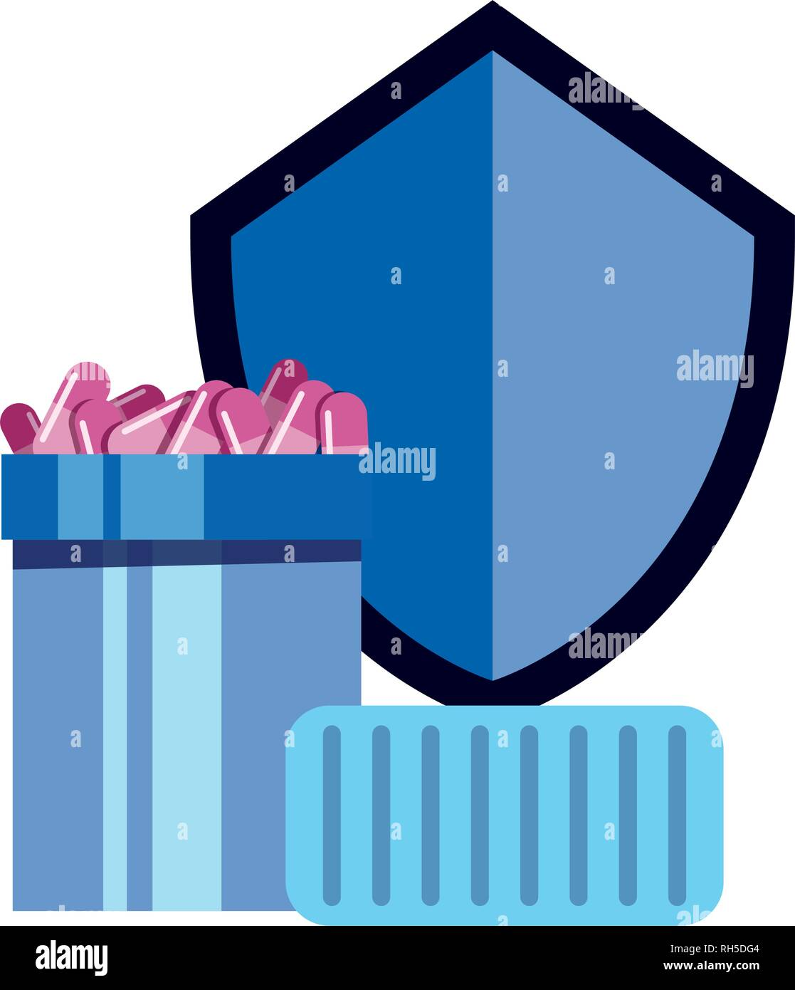 shield protection medical container capsules vector illustration - Stock Image