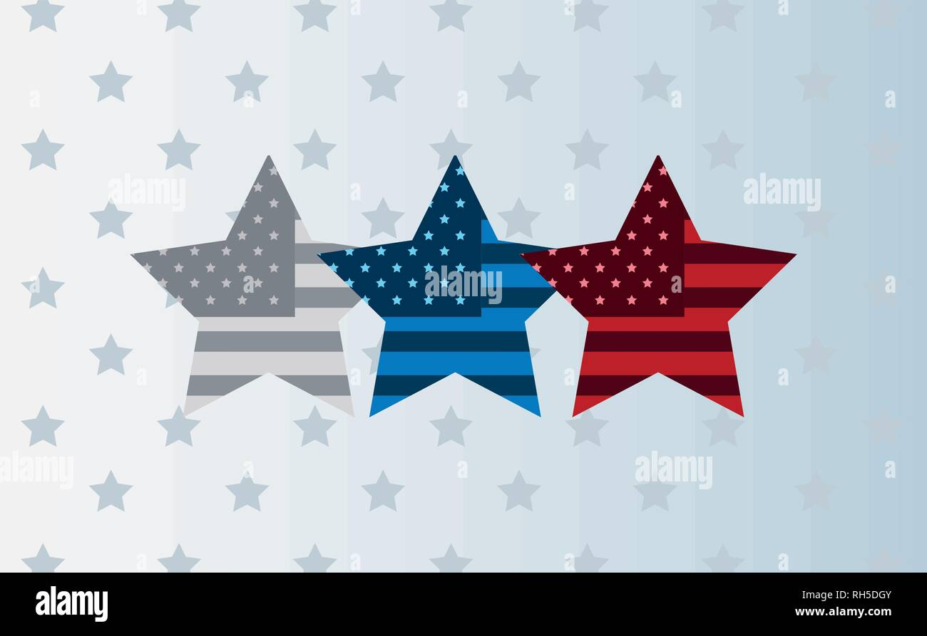 three stars with american flag background vector illustration - Stock Vector