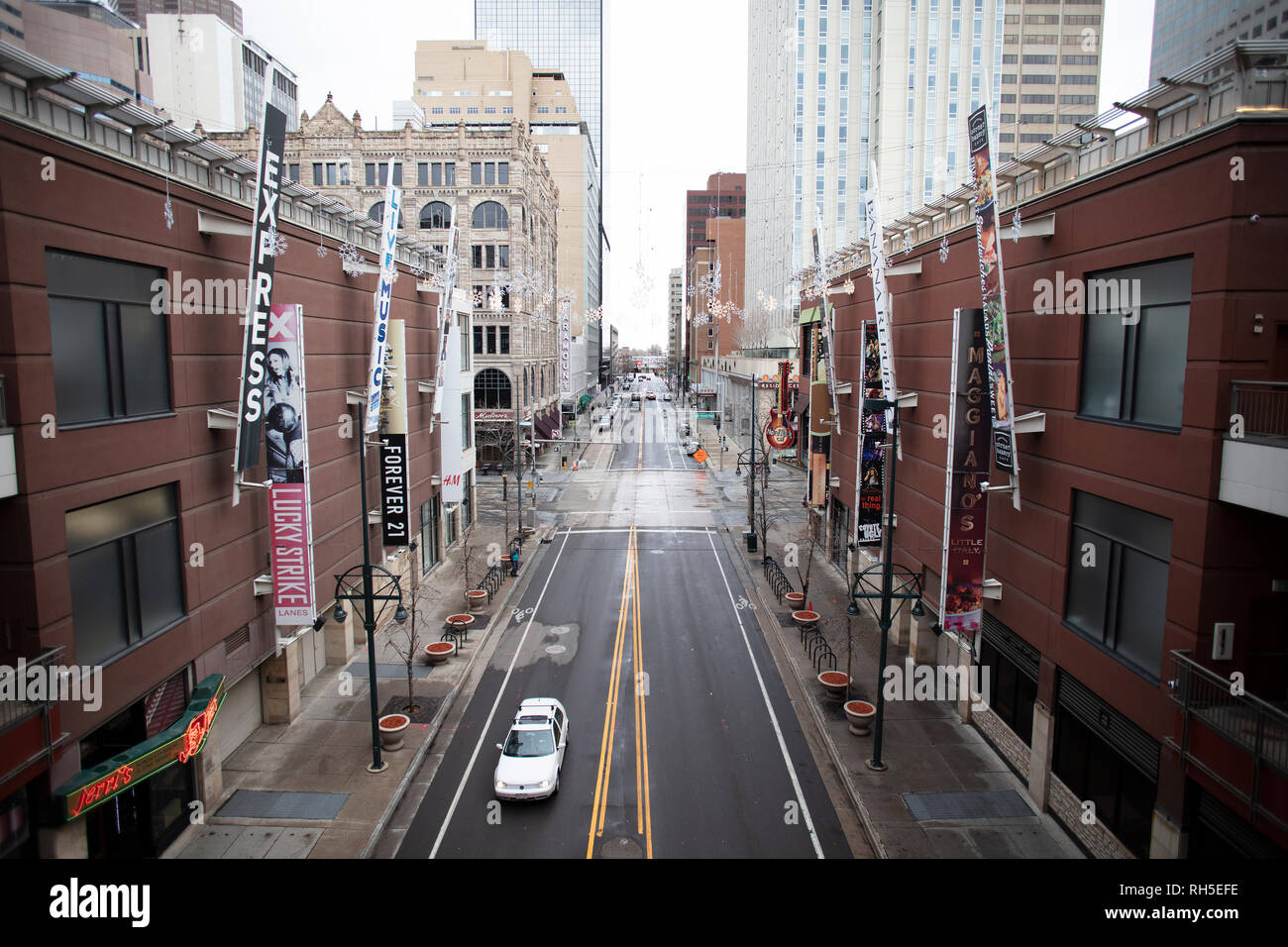 Denver, Colorado - January 16, 2019: Denver downtwon view from upstairs in a shop department in Denver, Colorado Stock Photo