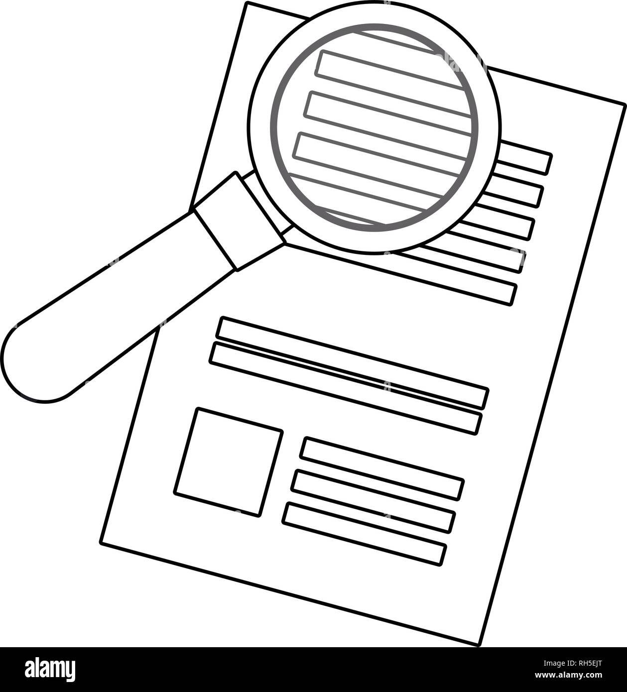 document paper magnifying glass search  vector illustration - Stock Image