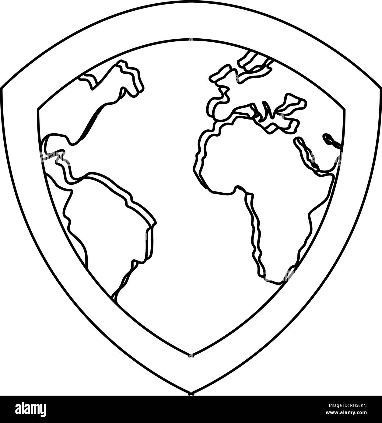 shield protection map copyright of intellectual vector illustration - Stock Vector