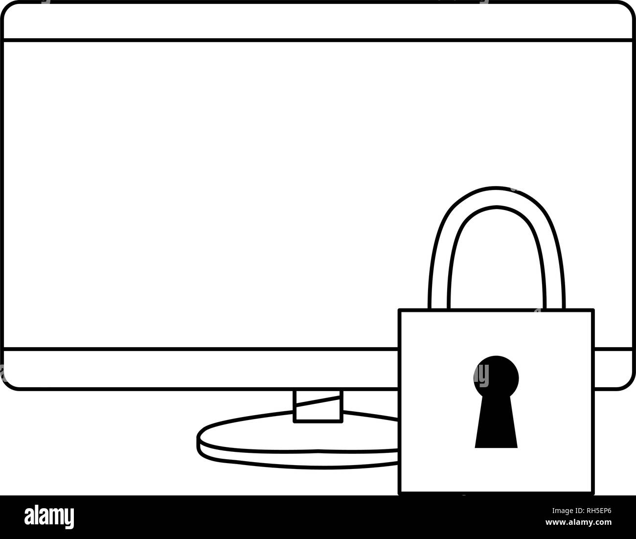 computer digital security protection copyright vector illustration Stock Vector