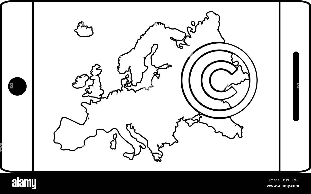 smartphone app european union copyright vector illustration - Stock Image