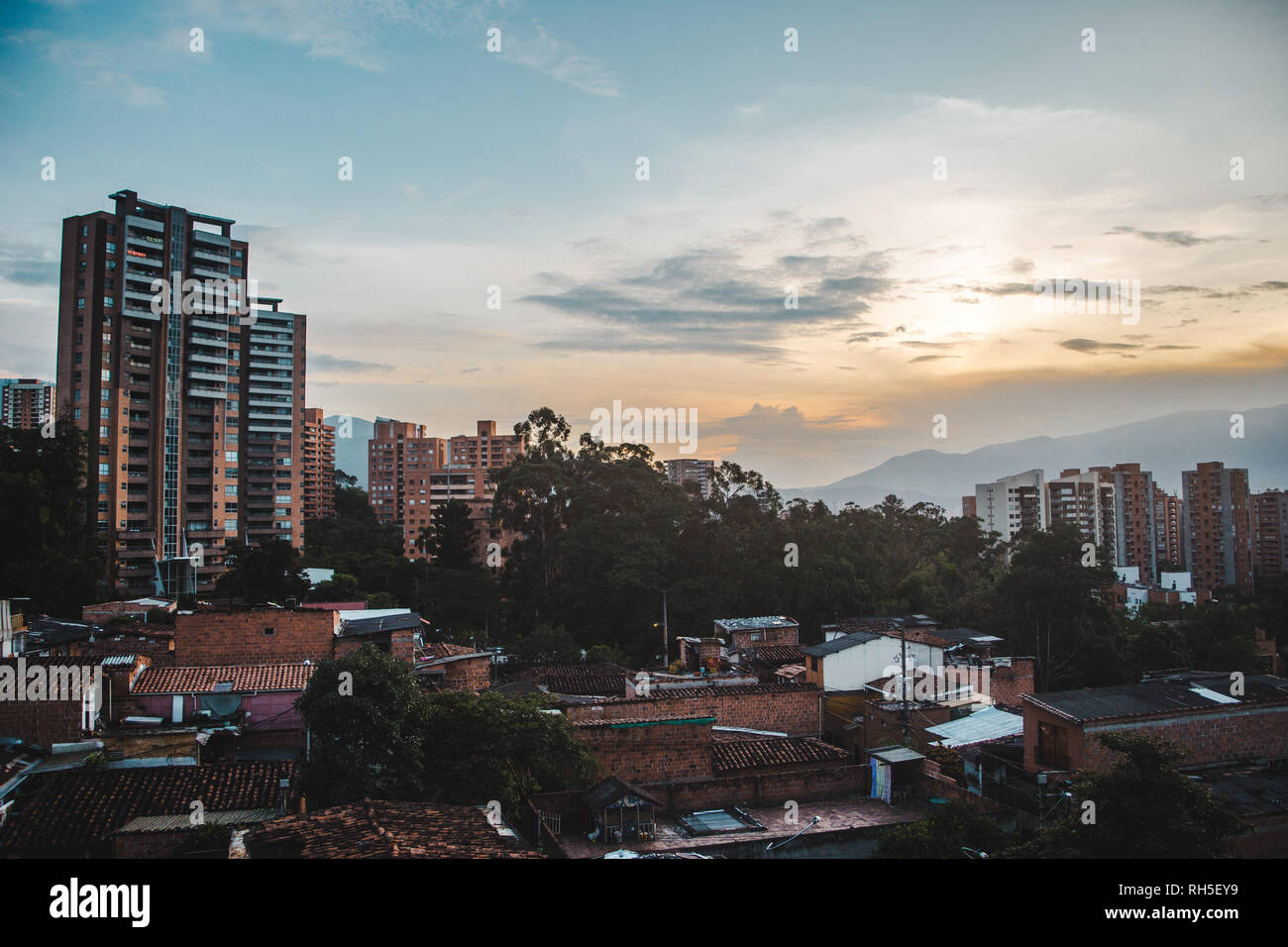 Views over the sprawling valley city of Medellín, Colombia from the area of El Poblado Stock Photo