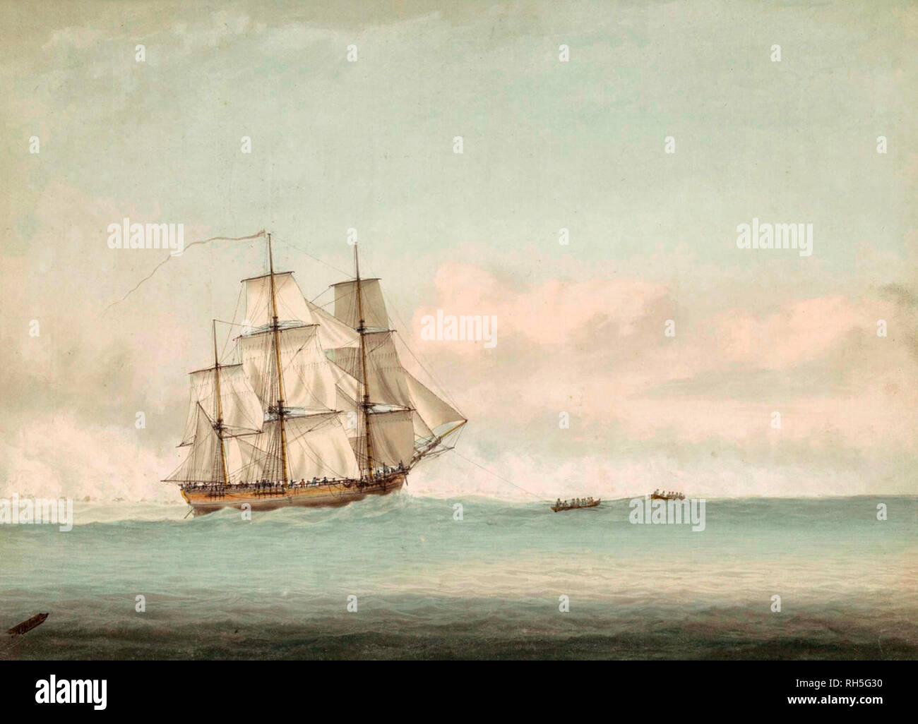 HMS Endeavour off the coast of New Holland - Samuel Atkins, 1794 - Stock Image