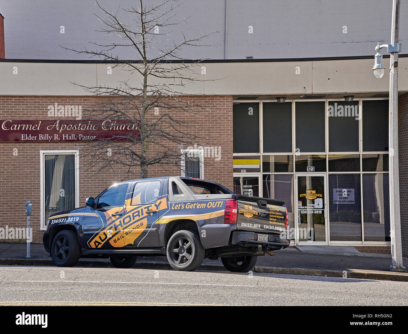 Bail bonds office exterior in downtown Montgomery, Alabama USA. - Stock Image