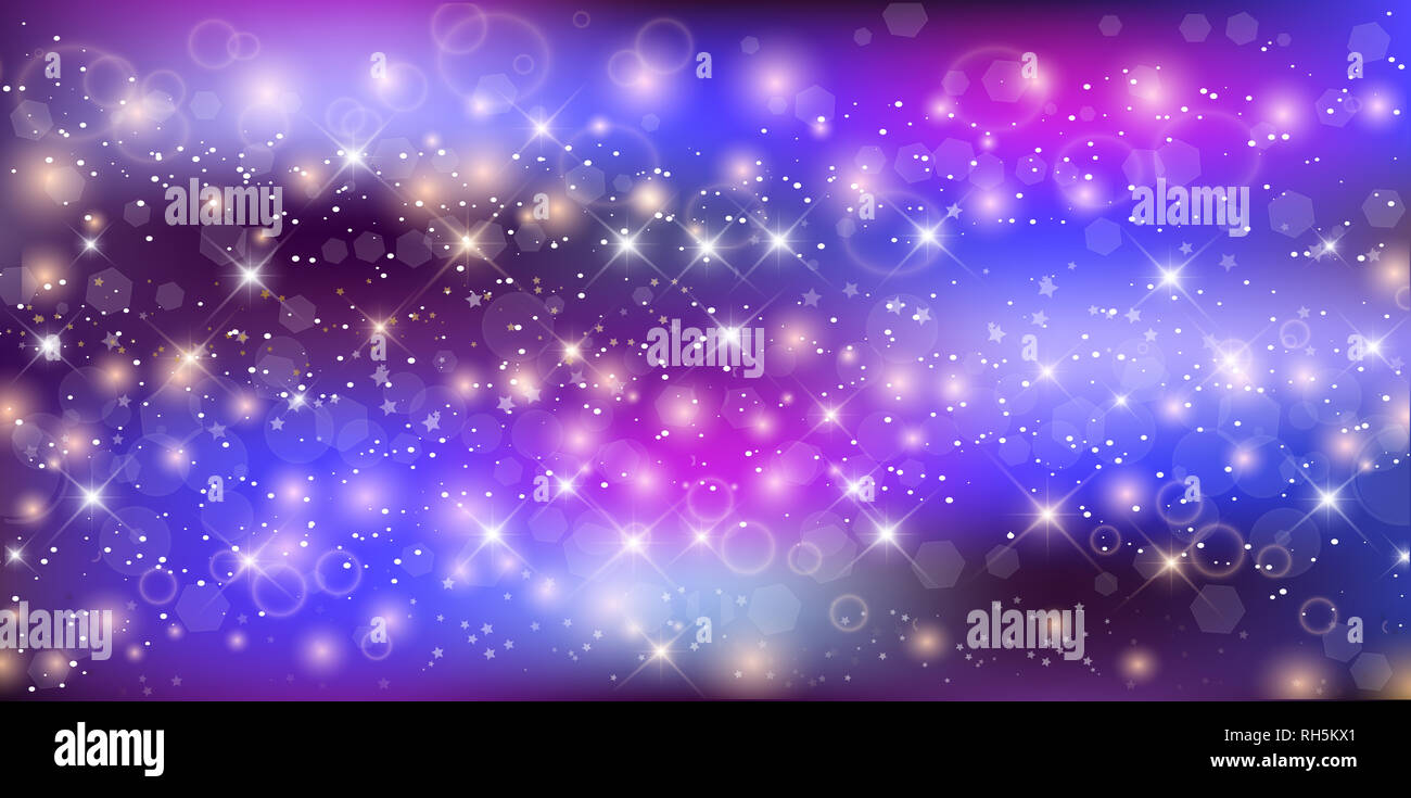 fantastic galaxy rectangle background blurred glowing circles with flowing and liquid concept purple neon magic banner night starry sky wallpaper RH5KX1