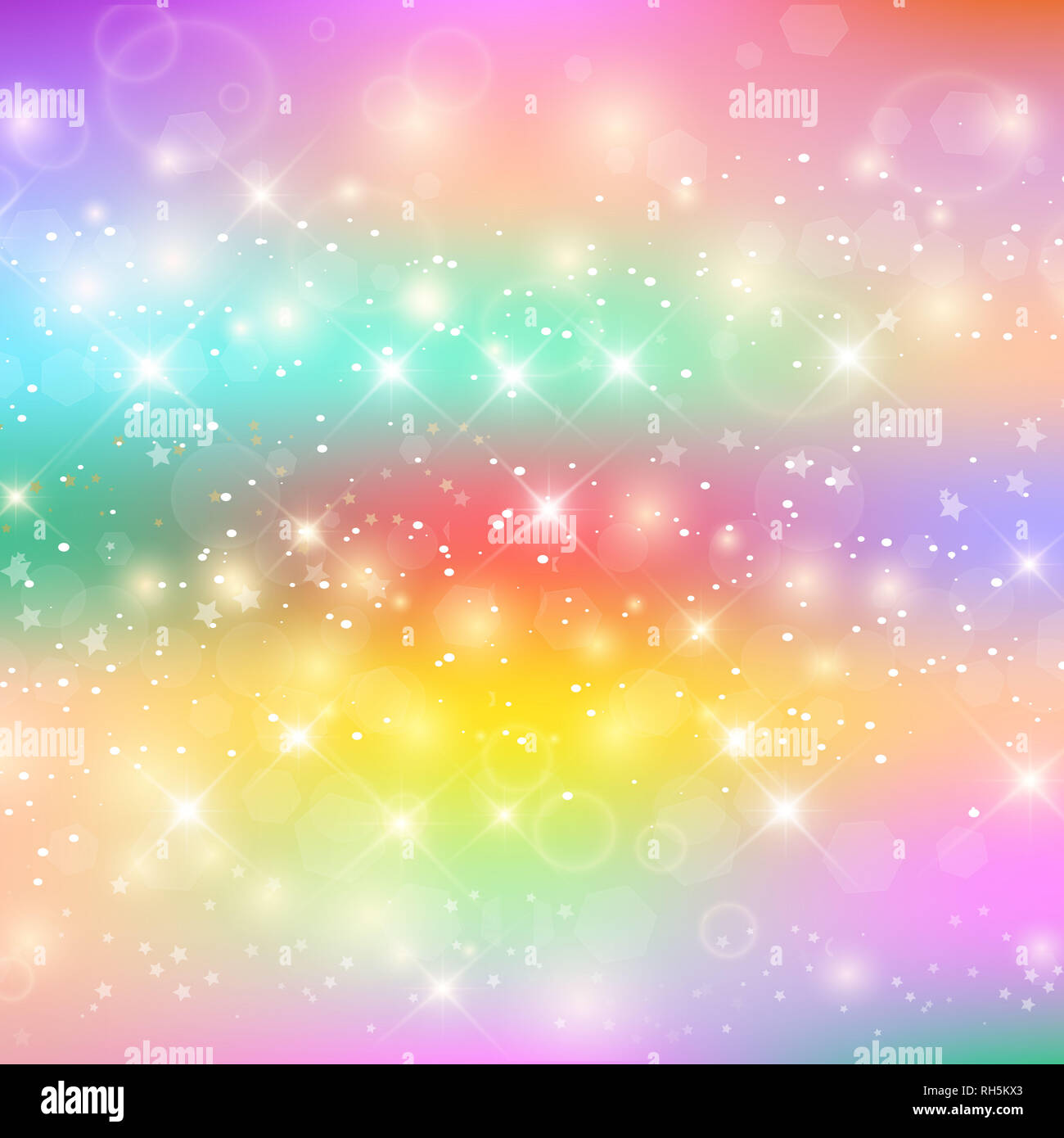 Unicorn Rainbow Background. Holographic Sky In Pastel ...
