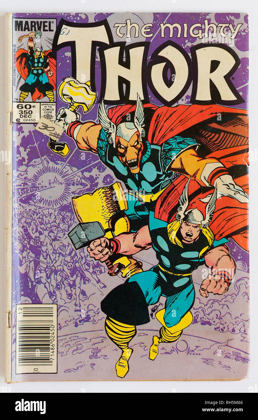 The cover of The Might Thor comic book by Marvel, published in 1964 - Stock Image