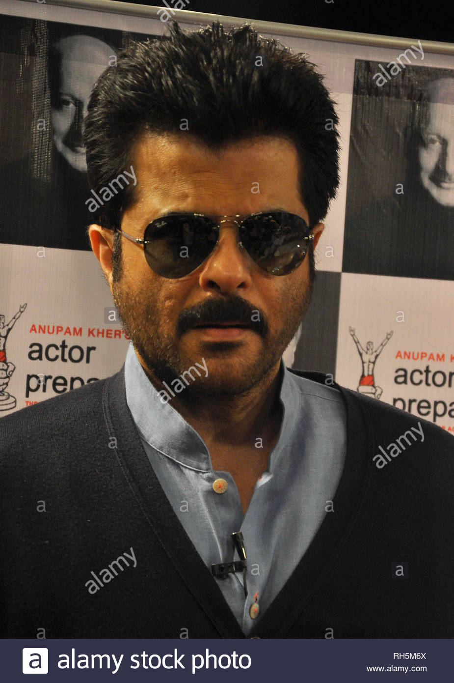 Bollywood actor Anil Kapoor arrives for a Master Class lecture with students of Anupam Kher's Actors Prepares Acting School in Mumbai, India on July 18, 2013. (Deven Lad) - Stock Image