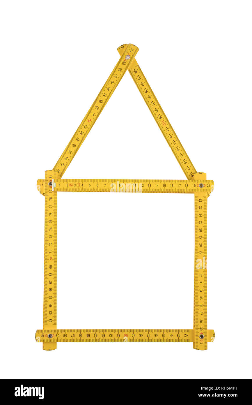 Yellow meter ruler folded as house isolated on white background - Stock Image