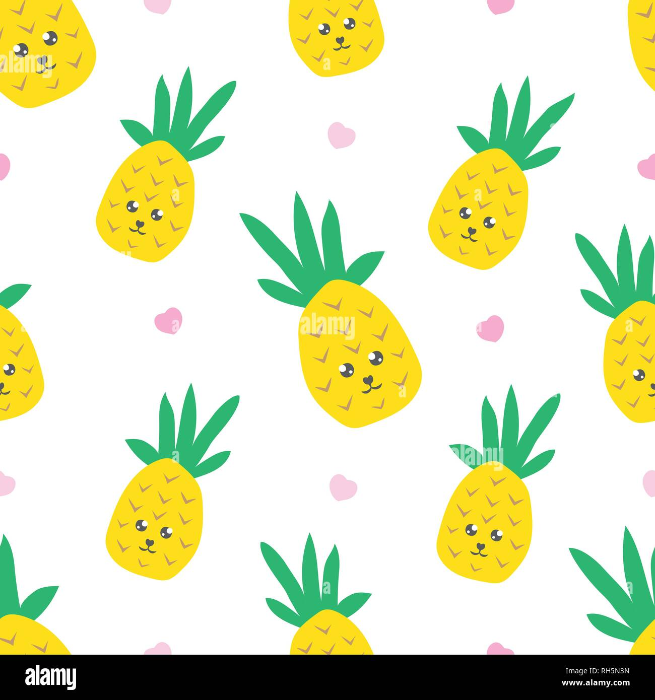 childish seamless pattern with cute kawaii pineapple creative texture for textile wallpaper fabric decor RH5N3N
