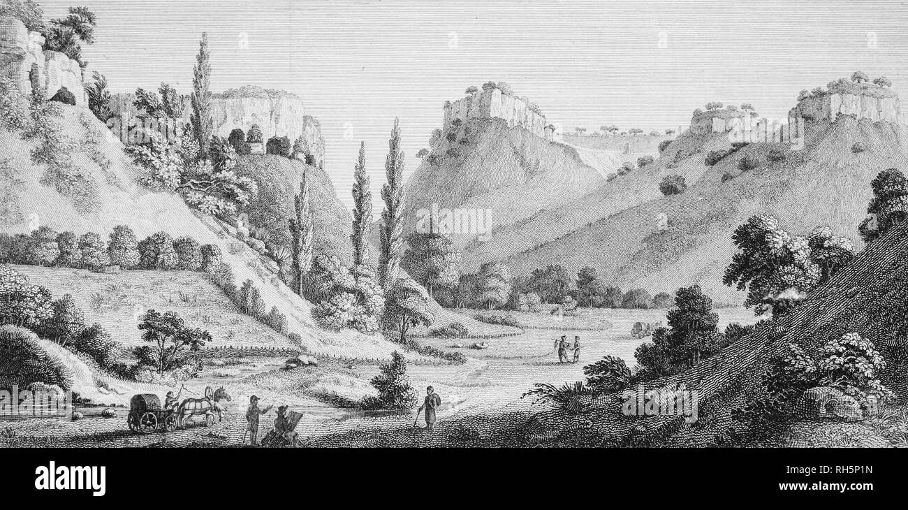 Alexandre de Paldo. Mangup Kale in Crimea. Lithography, 1805. Mangup Kale is a medieval cave town, situated in the picturesque valley in Bakhchysaray surroundings. - Stock Image