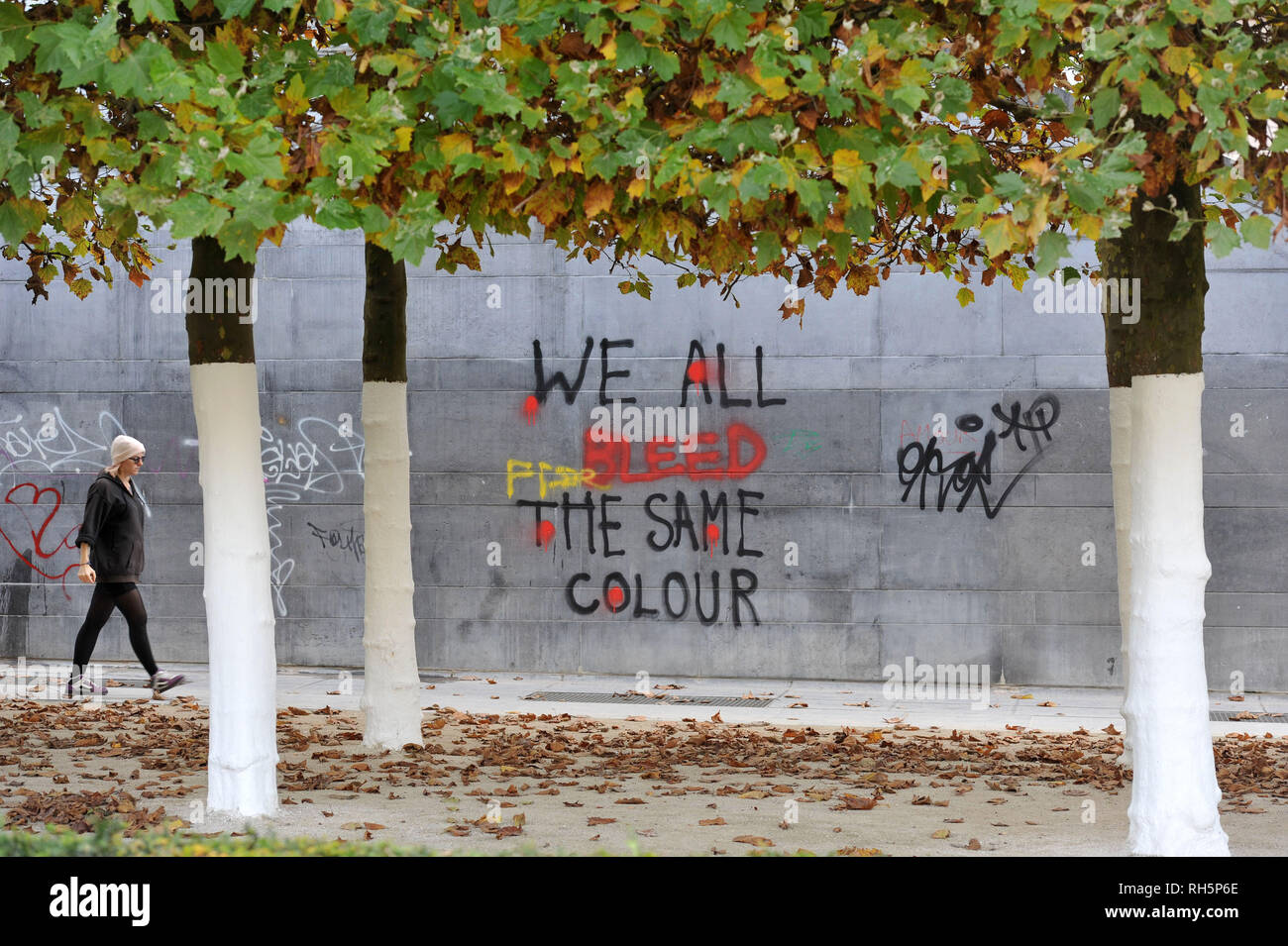 Graffiti on a wall in Brussels, Europe which reads 'We all bleed the same colour' - Stock Image