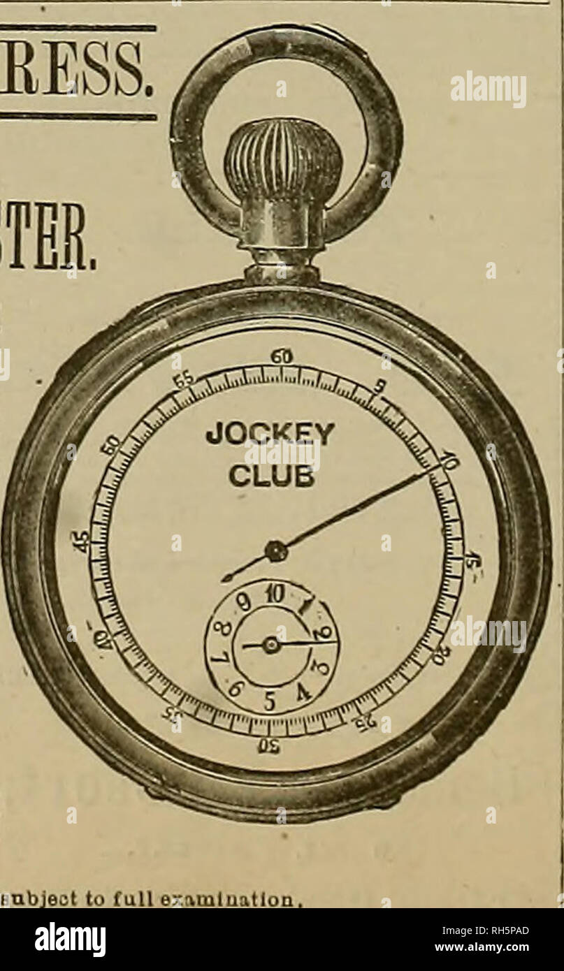 . Breeder and sportsman. Horses. HITJ.-HE PAYS THE EXPRESS. So money required until after full examination HORSE TIE! AID MINUTE REGISTER Chronograph watch which combines an accurate stop watch ioiâ sporting, timing horses, boat races, doctors, where each beat of the pulse Is timed, and where accurate time (quarter of a second) is necesBary. With a perfert timekeeper for regu- lar use. same as any other watch, the mechanism to start and stop is of the most simple and durable construction, and is In. dependent of the other parts of the movement. None but the very best material obtainable Is emp - Stock Image