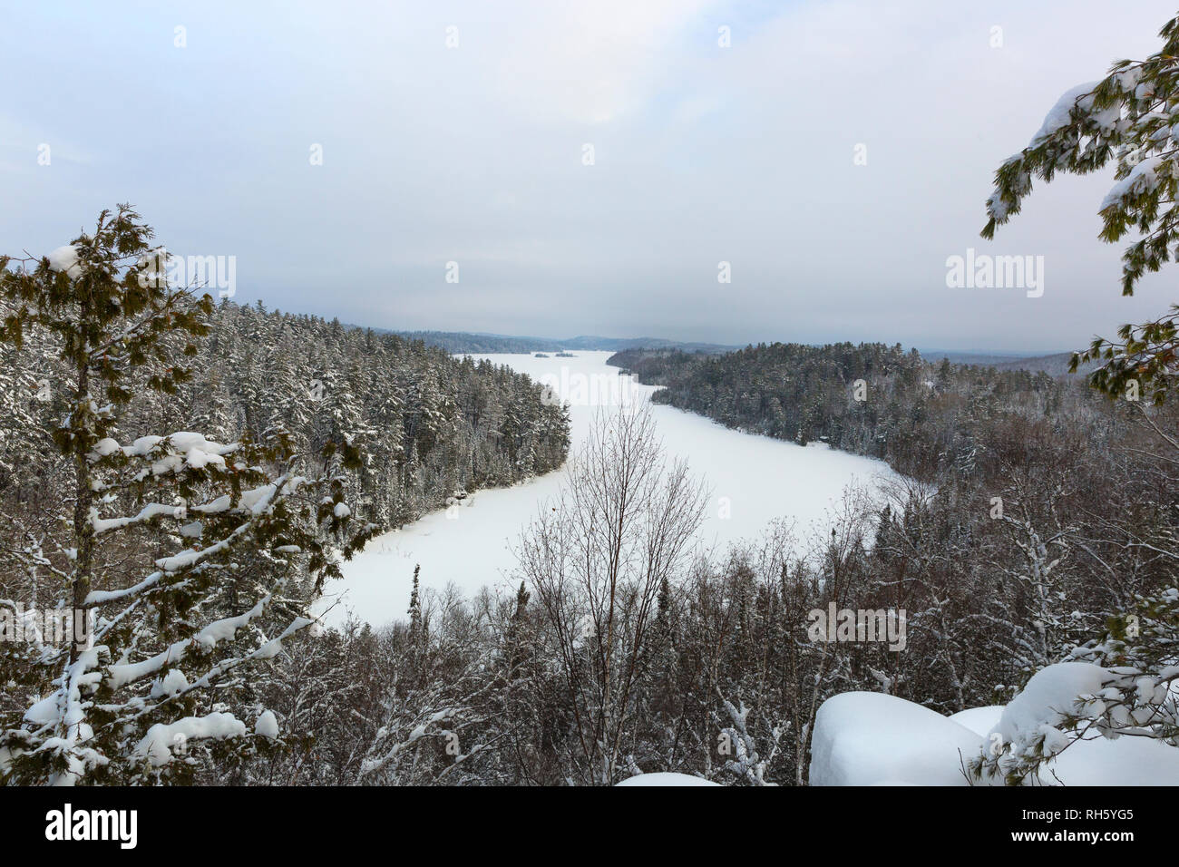 Scenic overlook at West Bear Skin Lake along the Caribou Rock Trail in the Boundary Waters Canoe Area Wilderness BWCA in Northern Minnesota, USA - Stock Image