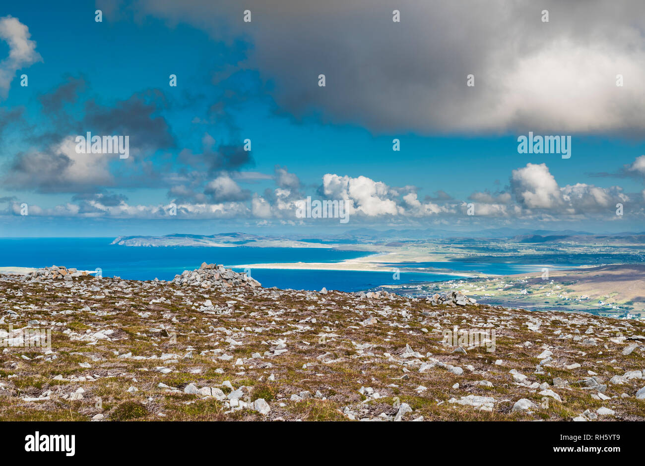 View eastwards from high on Cnoc Fola (Knockfola) near Bloody Foreland, County Donegal, Ireland. - Stock Image