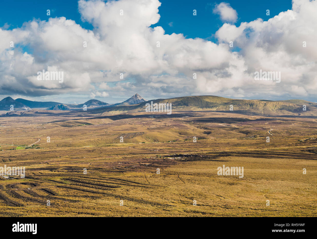 Panorama from high on Cnoc Fola across the cut bogland towards the  Seven Sisters of the Derryveagh Mountains, County Donegal, Ireland - Stock Image