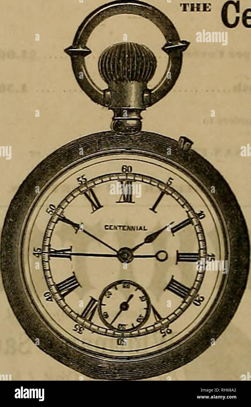 """. Breeder and sportsman. Horses. Centennial Chronograph A POSITIVELY RELIABLE """"FLY-BACK"""" HORSE-TIMER And Accurate Time-piece Combined. STEM WINDER AND STEM SETTER. In heavy Gold Open-face Cases, price $55 In heavy Silver Open-face Cases 27 In heavy Silver Hunting- Cases 30 [From the Jewelers' Circular.] """"The Centennial chronogi aph (fly-back) or norse-timer, recently introduced by Messrs. Cross A Beguelin, is, regardless of price"""", one of the most substantial and accurate pieces of timing inech- inism we have seen. This timer is constructed on scientific me- chanical princi - Stock Image"""