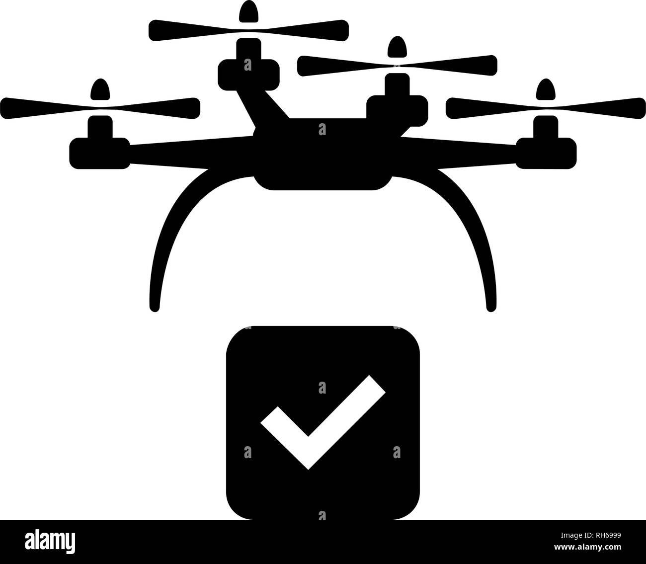 Vector drone icon. Modern, simple flat vector illustration for web site or mobile app. Isolated on white. - Stock Image