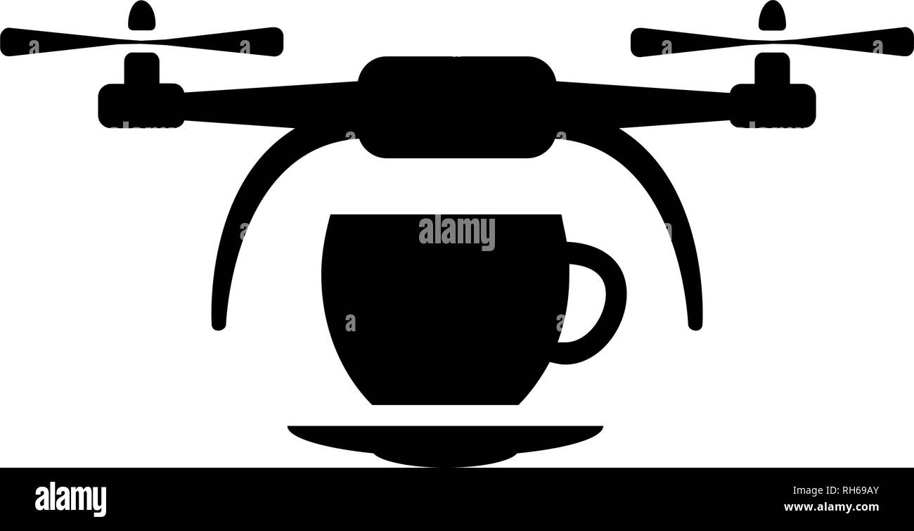 Vector drone with cup icon. Modern, simple flat vector illustration for web site or mobile app. Isolated on white. - Stock Image