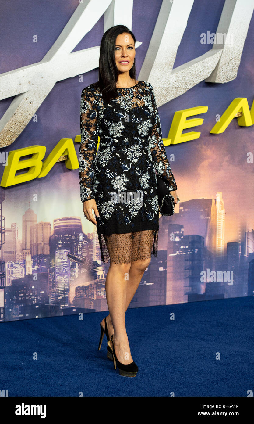 Linzi Stoppard attends the World Premiere of 'Alita: Battle Angel' at Odeon Leicester Square. - Stock Image