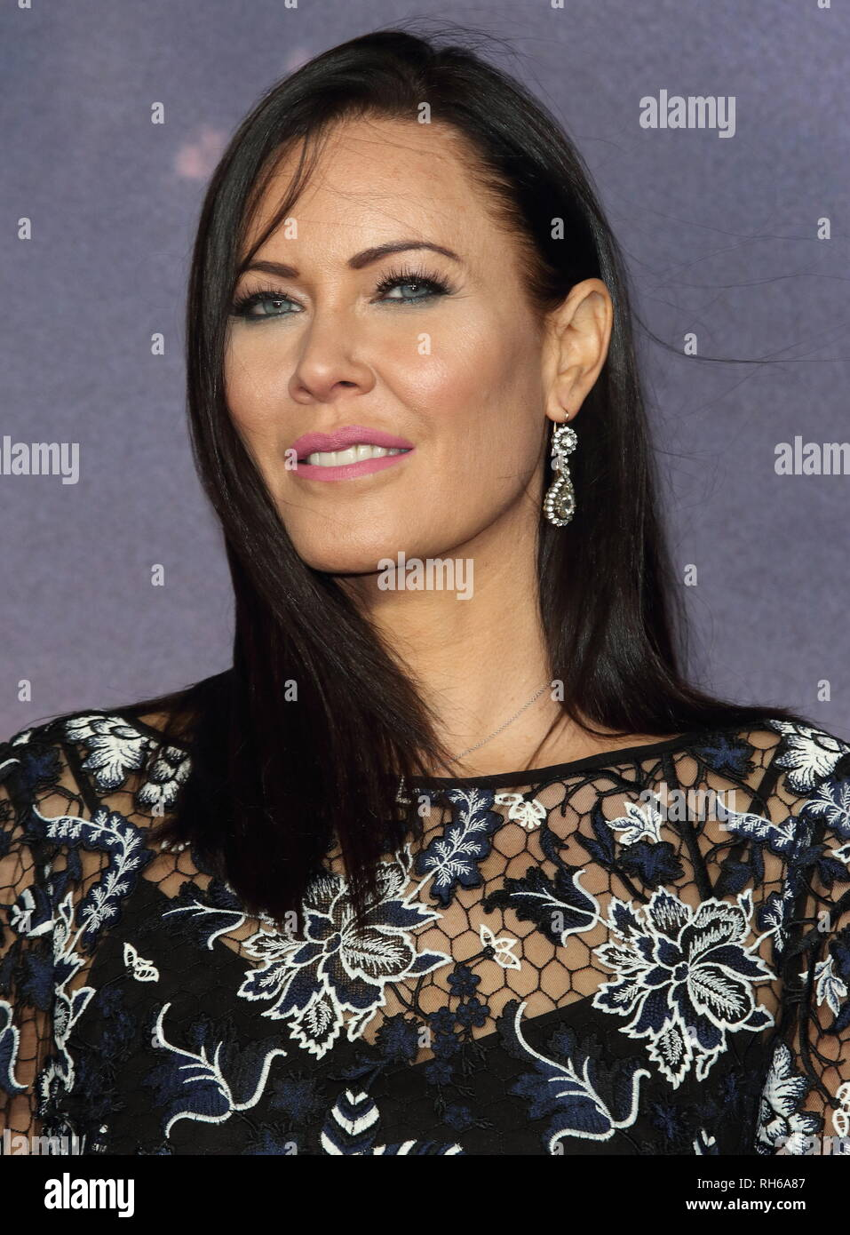 Linzi Stoppard attends the 'Alita: Battle Angel' World Premiere at the Odeon Luxe in Leicester Square. - Stock Image