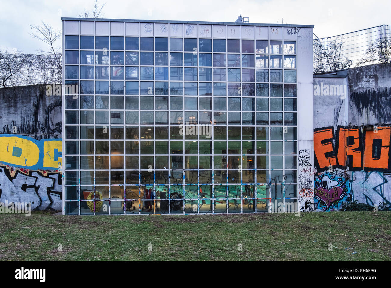 Friedrichshain-Kreuzberg, Berlin, Germany. 31st January, 2019. An indoor pool is a popular venue in Gorlitzer park. As winter creeps slowly into its final months, the days are cold and grey but Berliners venture out and enjoy the ordinary and extraordinary in their capital city. Hungry birds take to the sky above historic railway stations, the pink drainage pipes of construction sites frame bare trees, sculptures decorate the public parks, indoor pools are crowded and graffiti and posters decorate the city. Credit: Eden Breitz/Alamy Live News - Stock Image