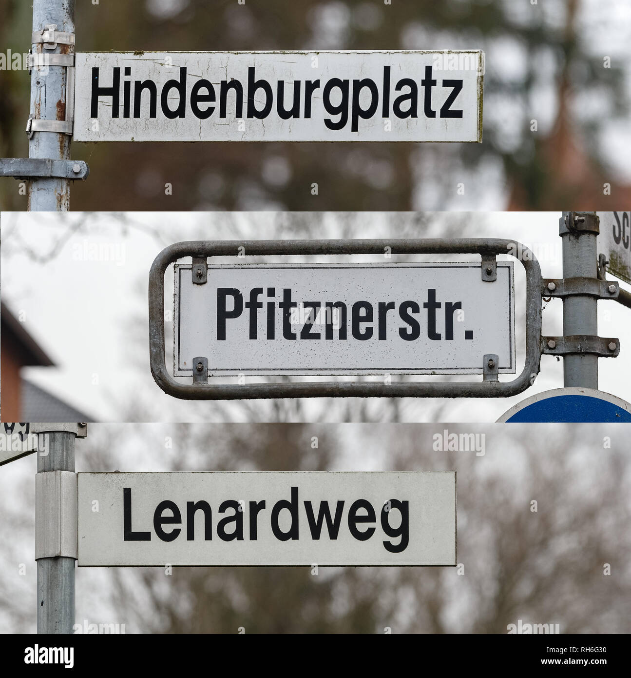 """01 February 2019, Schleswig-Holstein, Lübeck: ILLUSTRATION - The combo of three photos shows street signs with the names """"Hindenburgplatz, Lenardweg and Pfitznerstraße"""". The citizenship of Lübeck has decided to rename the streets after historically polluted persons. Photo: Markus Scholz/dpa Stock Photo"""
