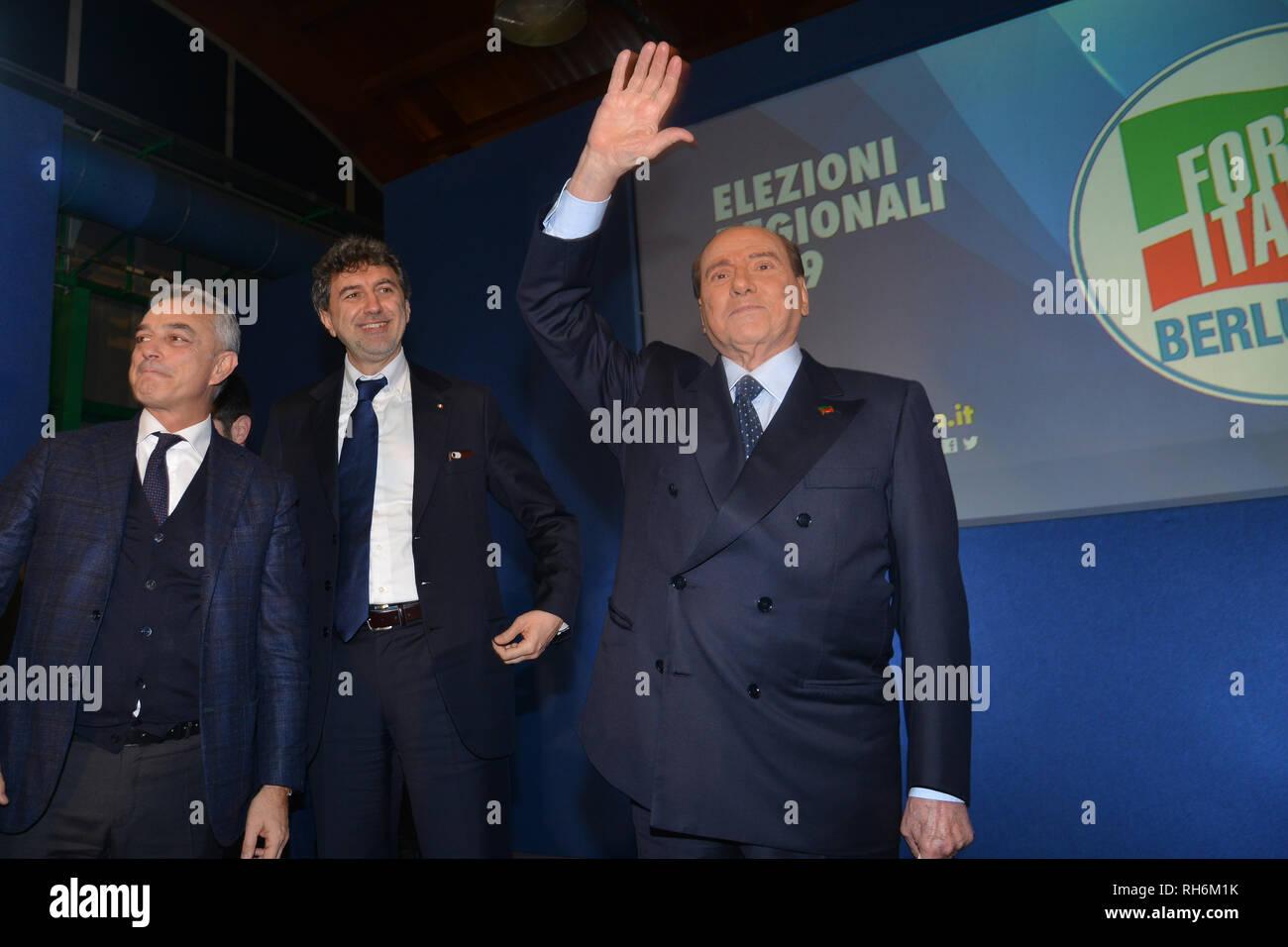 Foto Fabio Urbini /LaPresse 01 Febbraio 2019 Pescara (PE) Italia Politica  Pescara porto Turistico Nella foto: Berlusconi Silvio Stock Photo