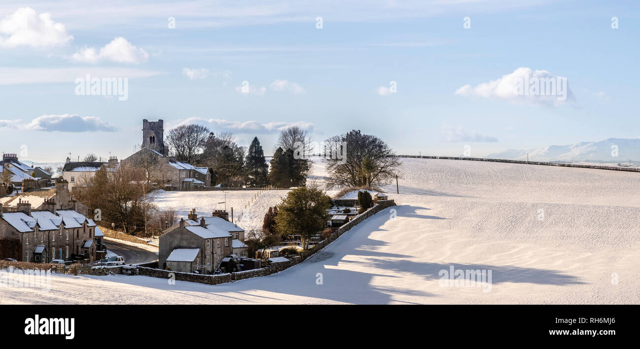 Cumbria. 1st Feb 2019. UK Weather: Grayriig village in Cumbria, seen in the afternoon snow, Cumbria, 1st Feb 2019 Credit: Russell Millner/Alamy Live News - Stock Image