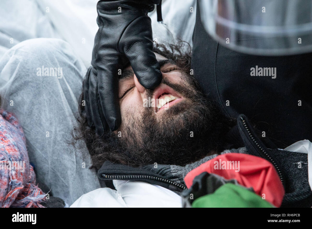Berlin, Berlin, Germany. 1st Feb, 2019. German riot policeman puts pressure on the nose of a protester to clear him away from a road block during a demonstration of environmental activists from the movement Ende Gelaende in front of the federal ministry of Economy and Energy in Berlin, Germany, February 2, 2019.The demonstrators protested the final report of the government appointed coal commission, which recommended that coal-based power generation will be completely ended by 2038. Credit: Omer Messinger/ZUMA Wire/Alamy Live News - Stock Image