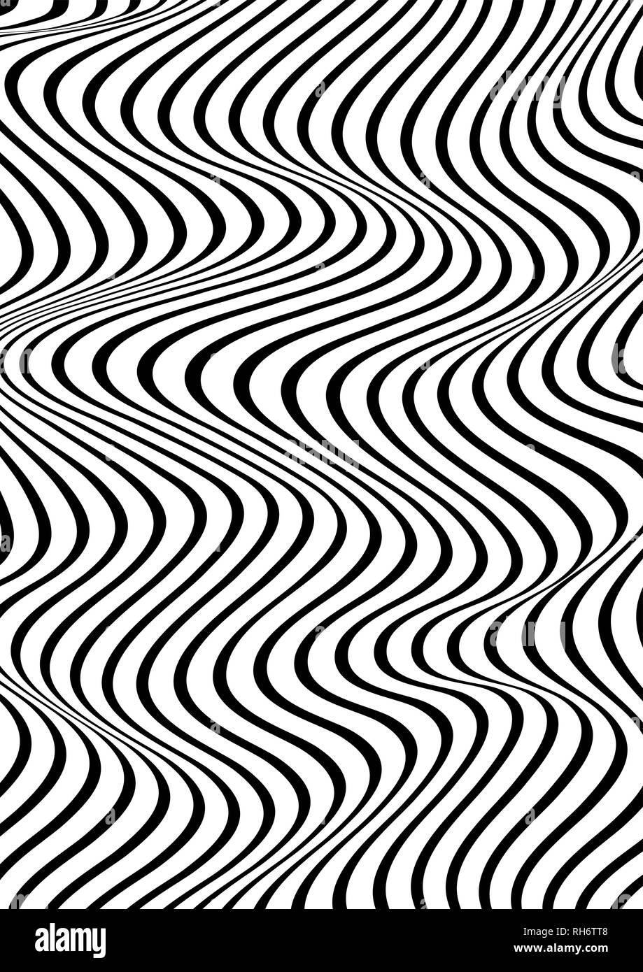 Abstract vertical wavy geometric pattern. Vector texture with black and white waves, stripes. Dynamical 3D effect, illusion of movement. - Stock Vector