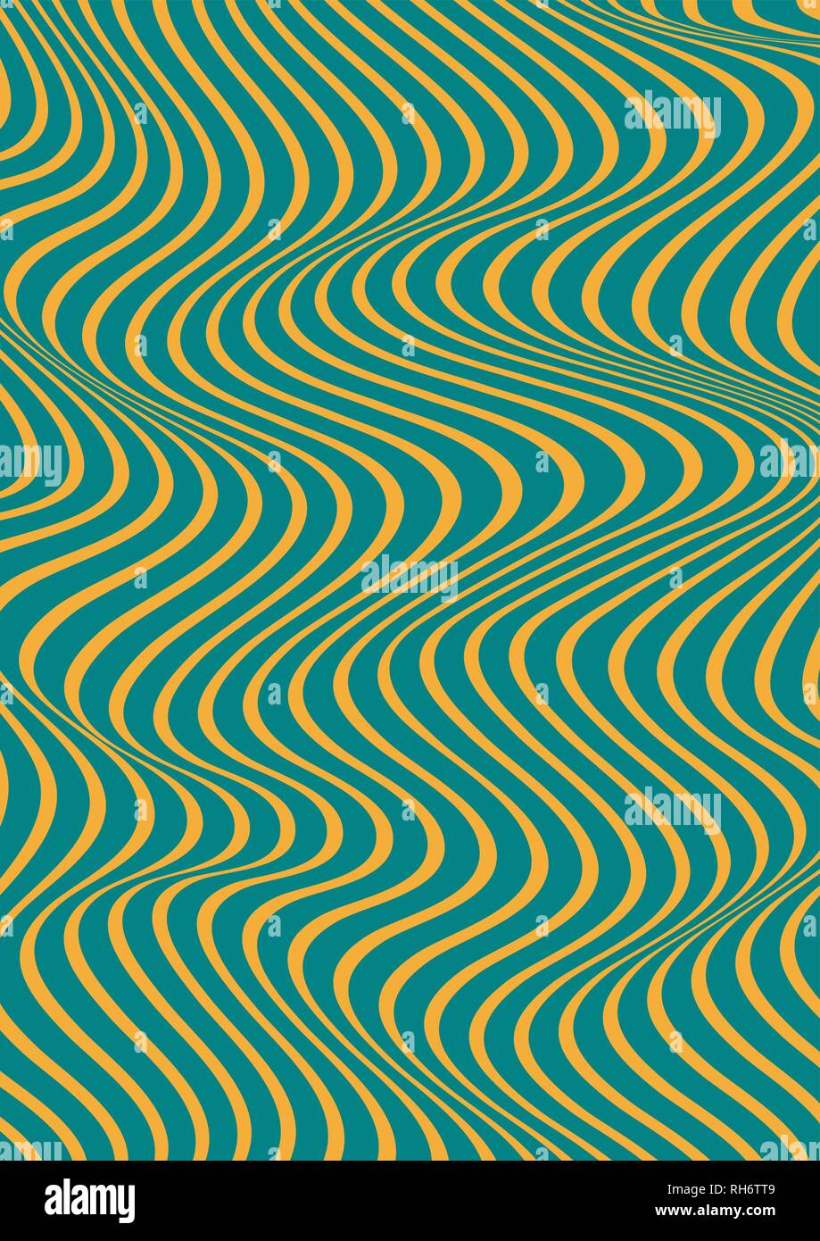 Abstract vertical wavy geometric pattern. Vector texture with yellow and blue or green waves, stripes. Dynamical 3D effect, illusion of movement. - Stock Vector