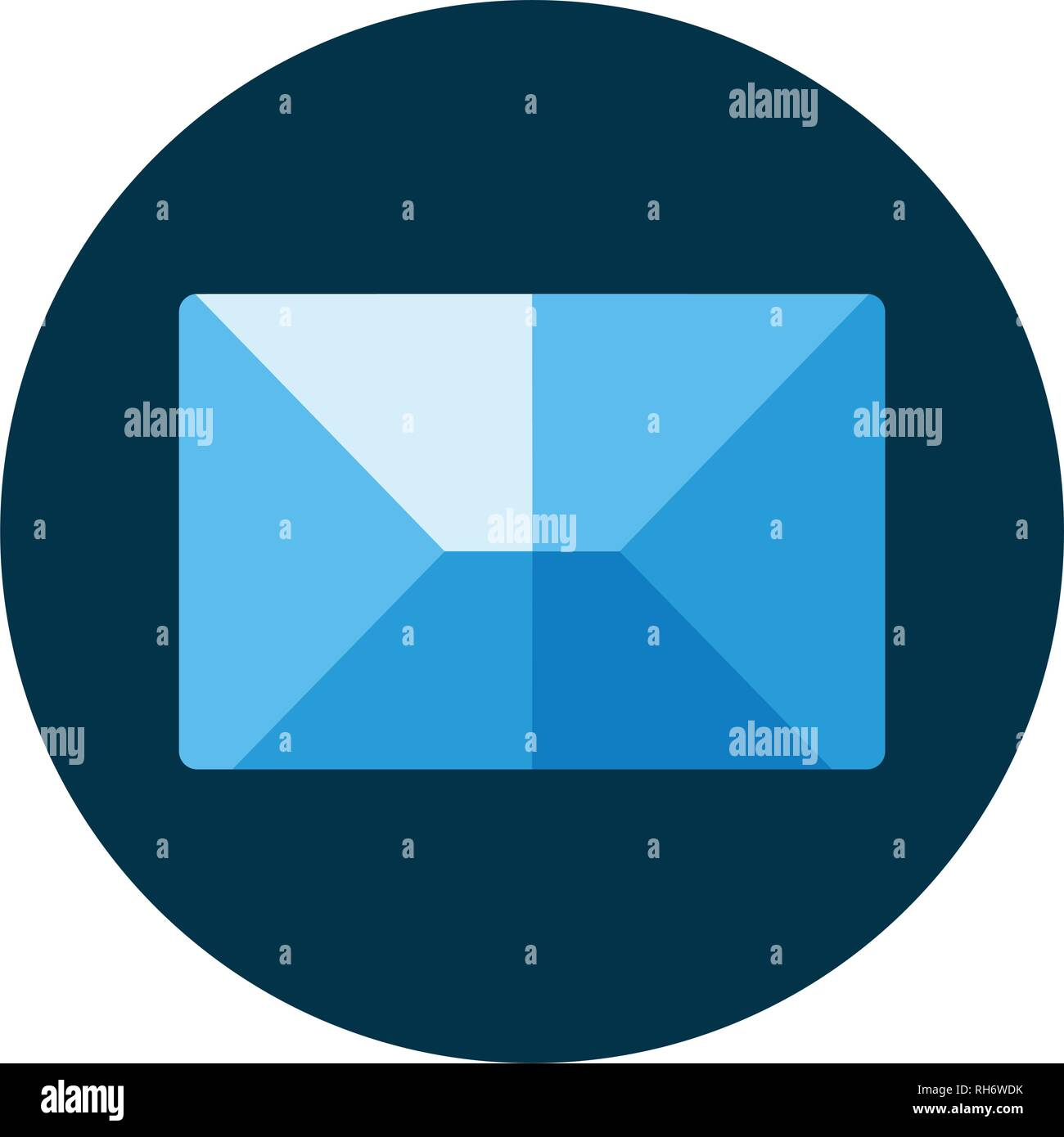 Blue flat icon. Message envelope object. Emailing concept dark blue background. Spam and sms writing.Lettering. - Stock Vector