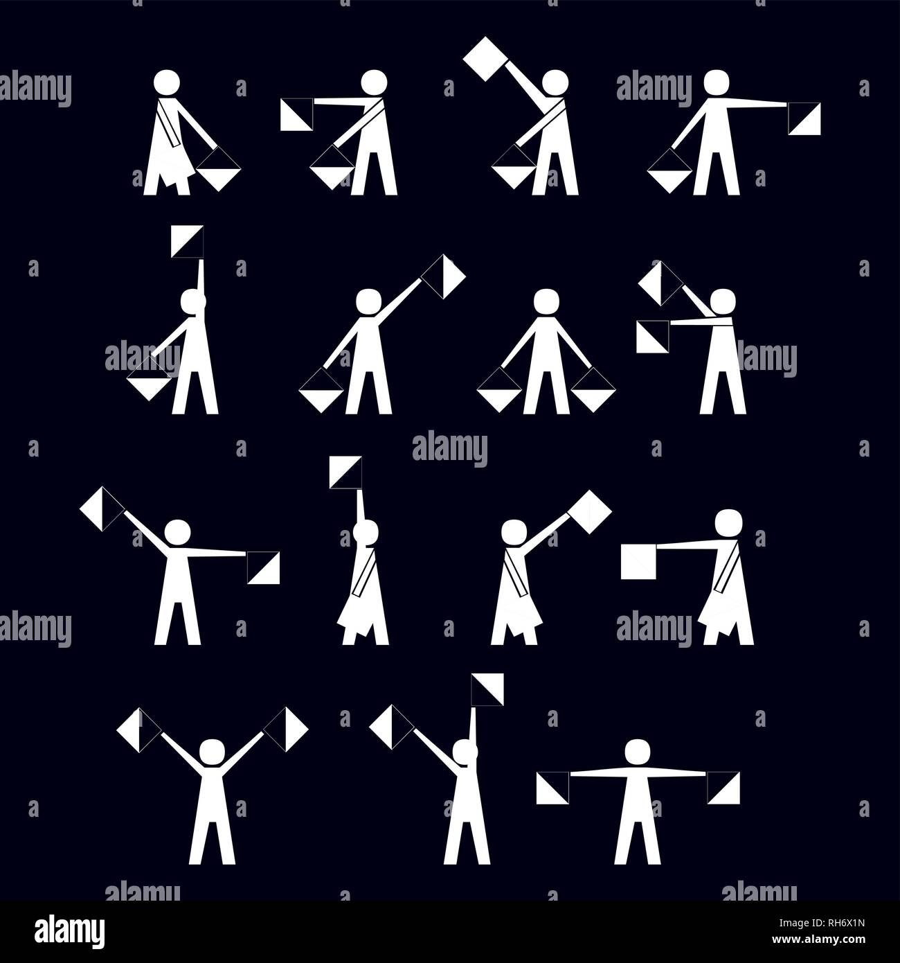 alphabet - flag semaphore system. vector alphabet icon Vector illustration isolated on white - Stock Vector
