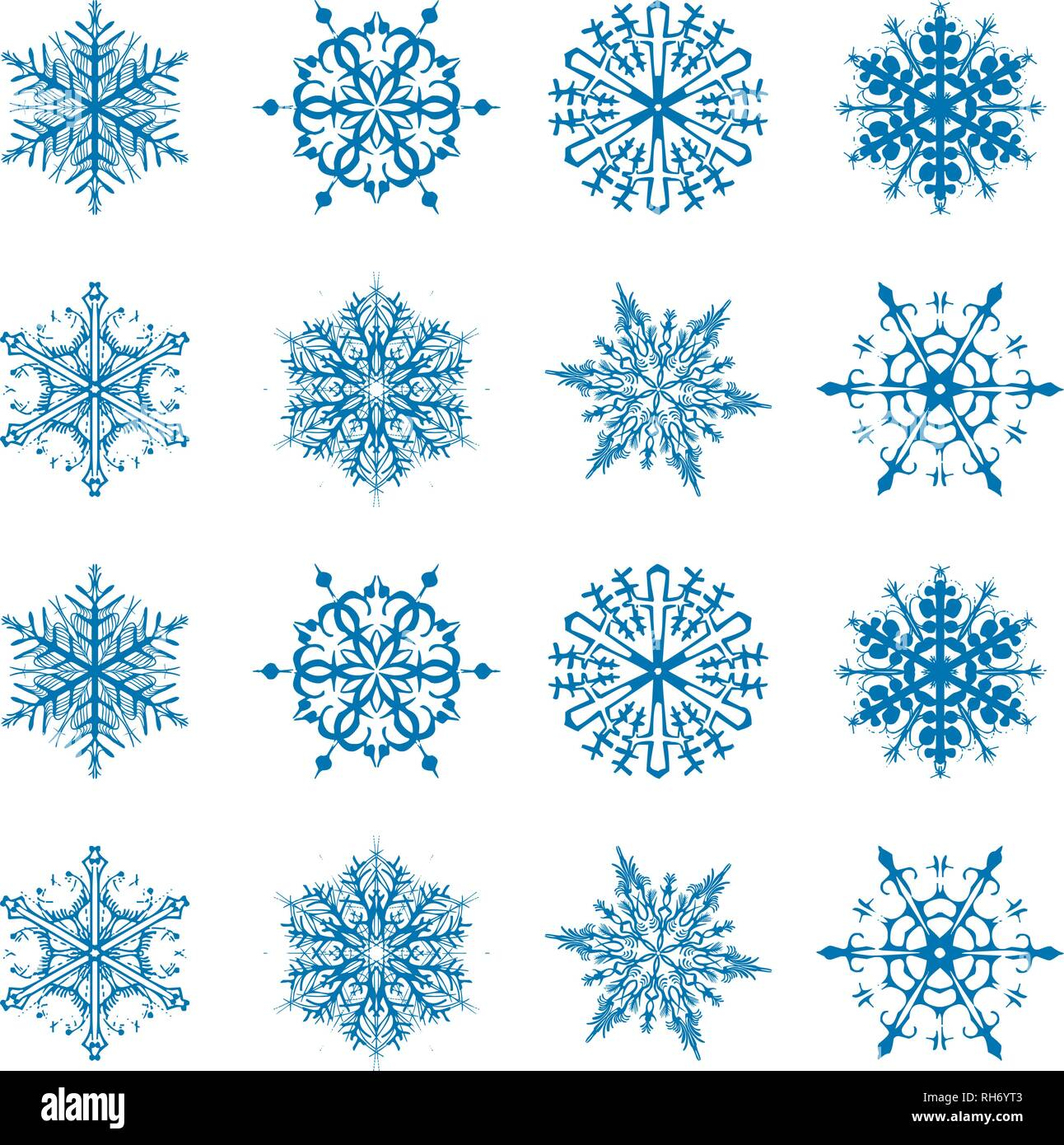 White Christmas Snow Background.Snowflake Vector Icon Background Set Blue Color Winter