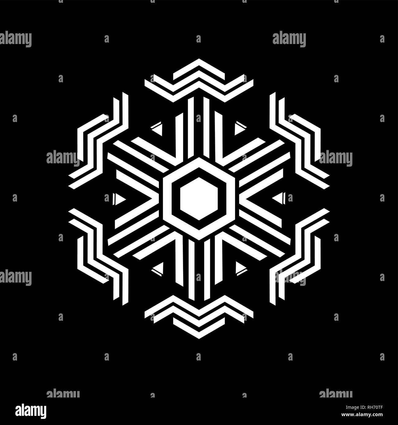 Vector - Geometric rhombus element made of radiating rectangles. Secret symbol of geometry. Abstract hexagon shape. Black background. For flyer - Stock Vector
