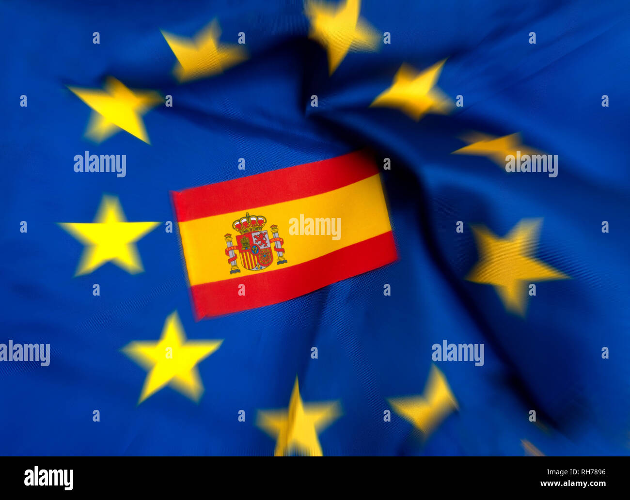 Flags of European Union and Spain - Stock Image