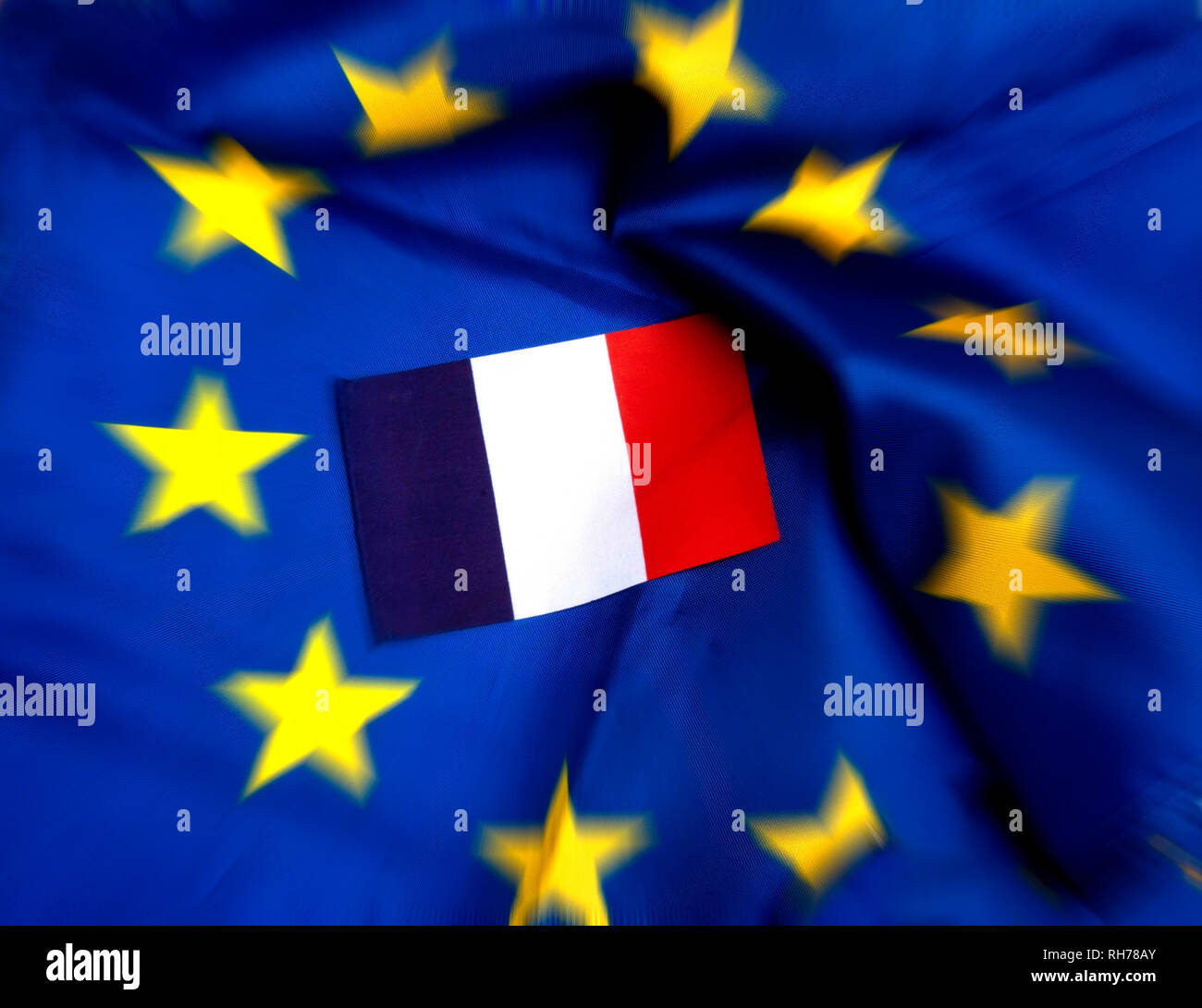 Flags of European Union and France - Stock Image