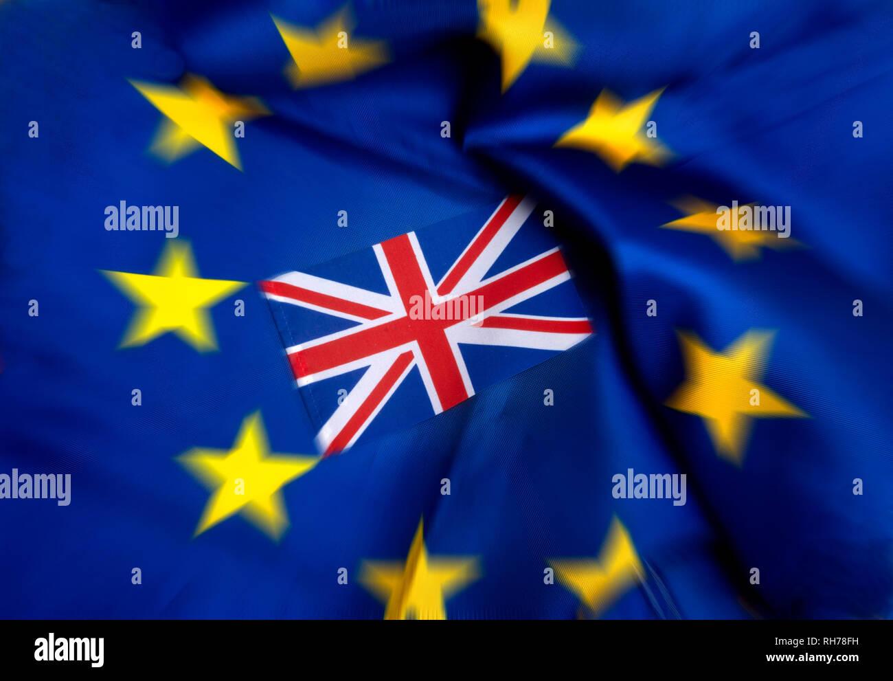 Flags of European Union and United Kingdom - Stock Image