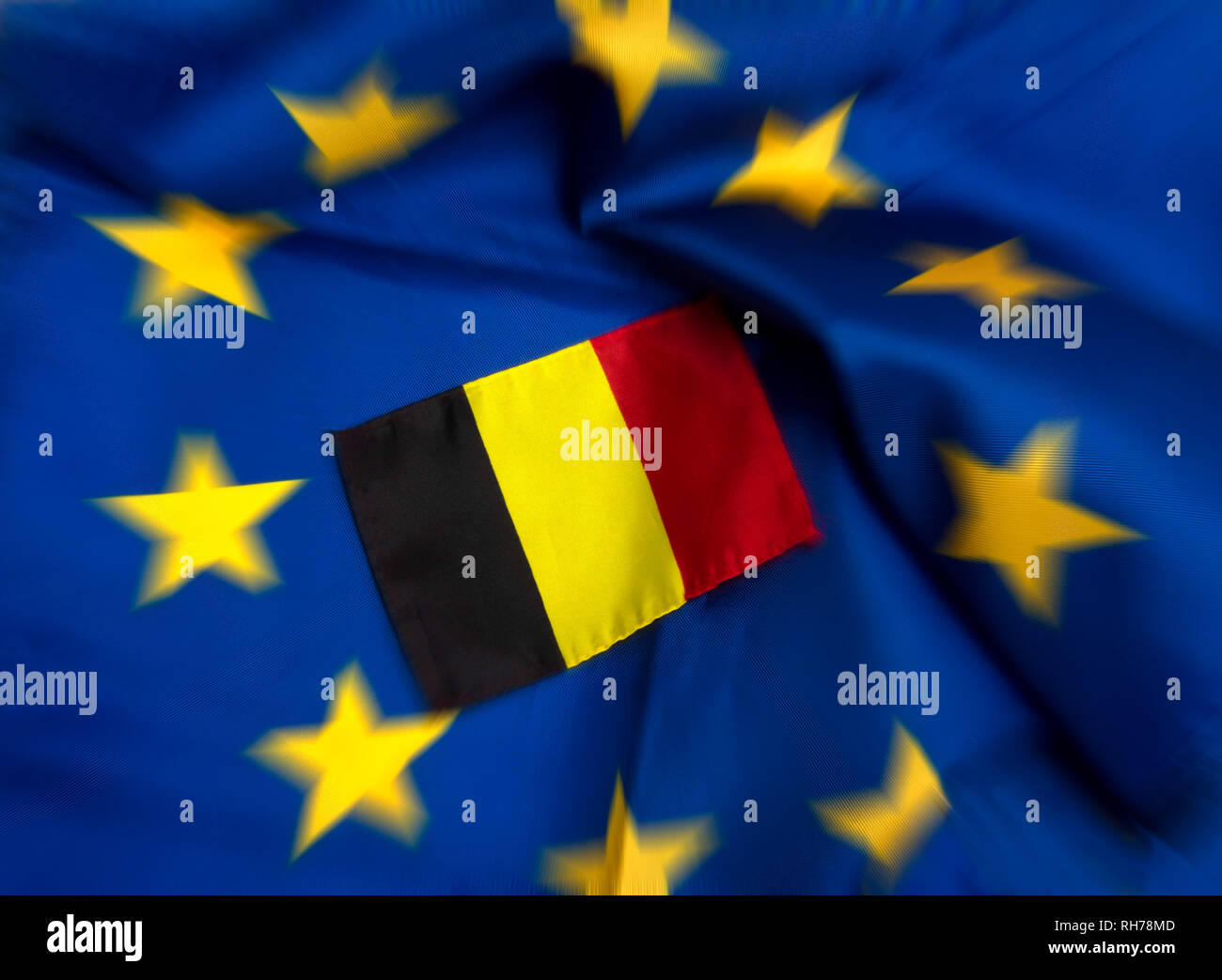Flags of European Union and Belgium - Stock Image