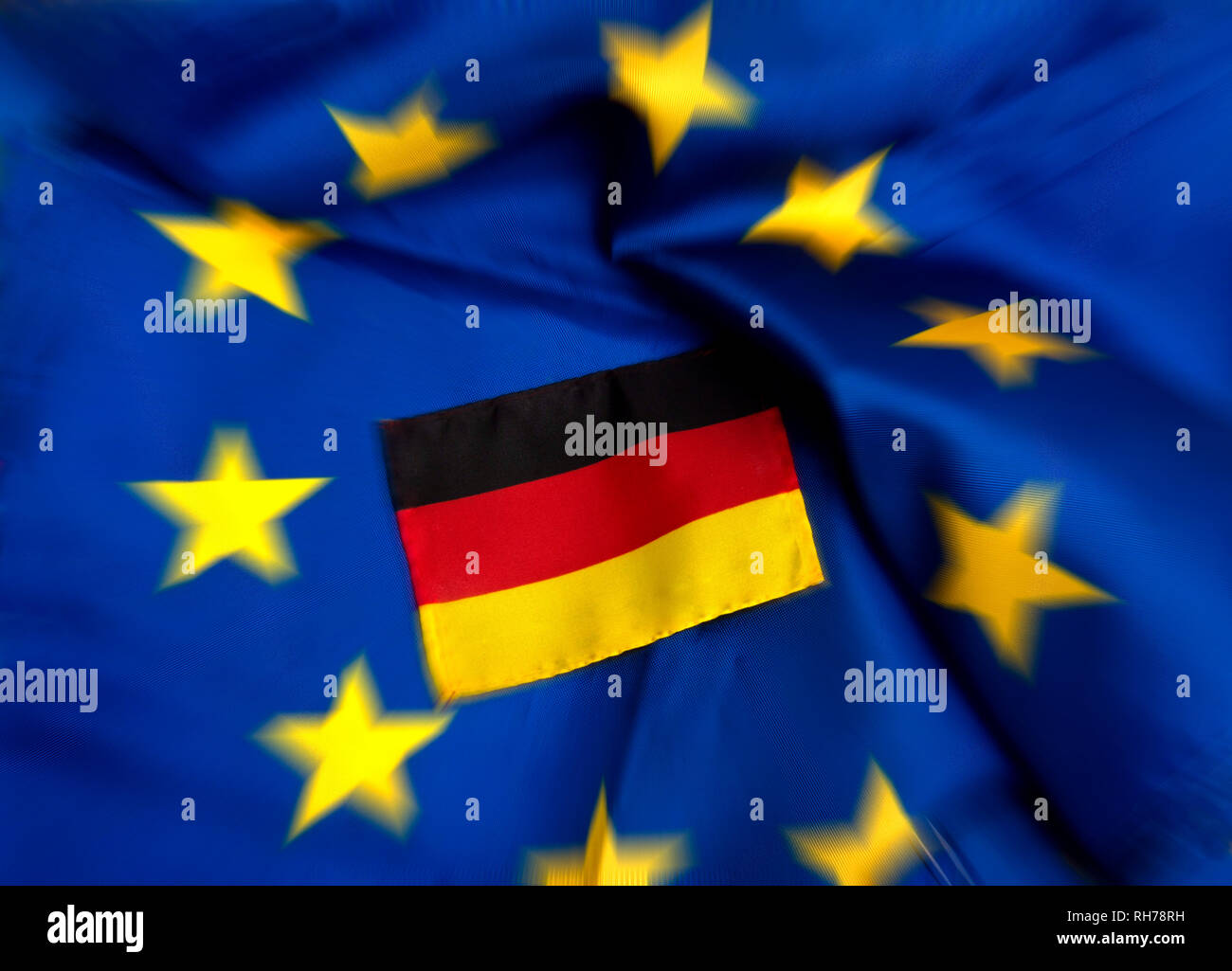 Flags of European Union and Germany - Stock Image