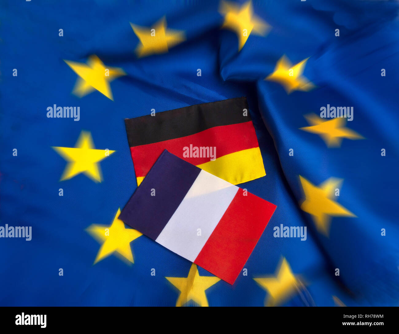 Flags of European Union , Germany and French - Stock Image