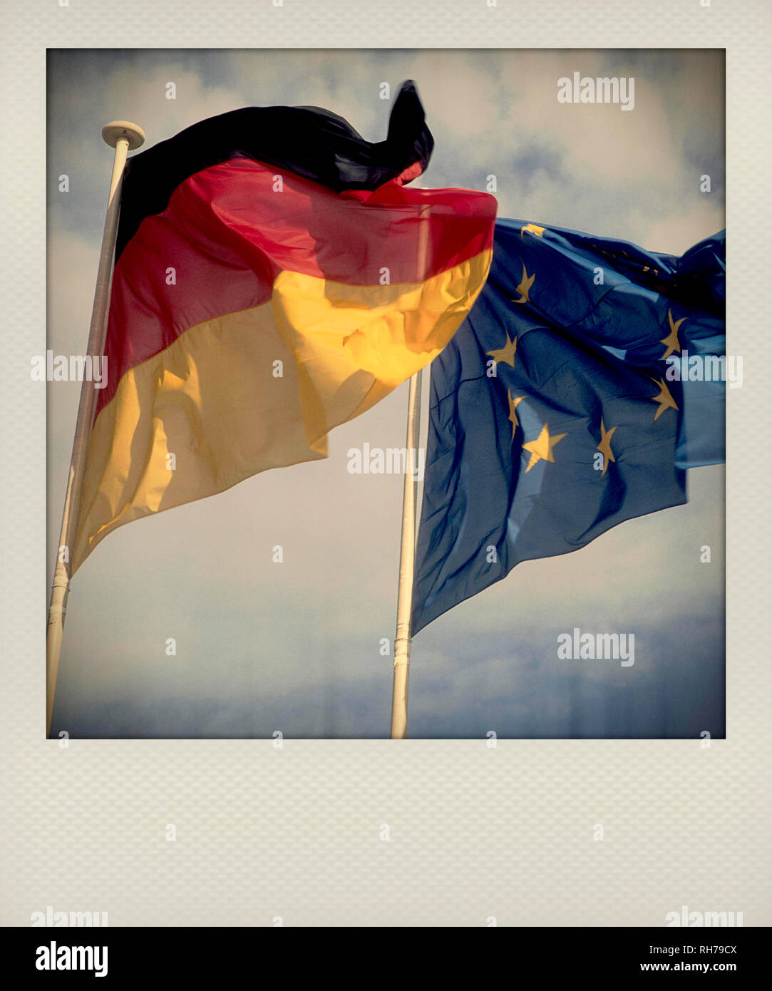 Germany flag and European flag flying - Stock Image