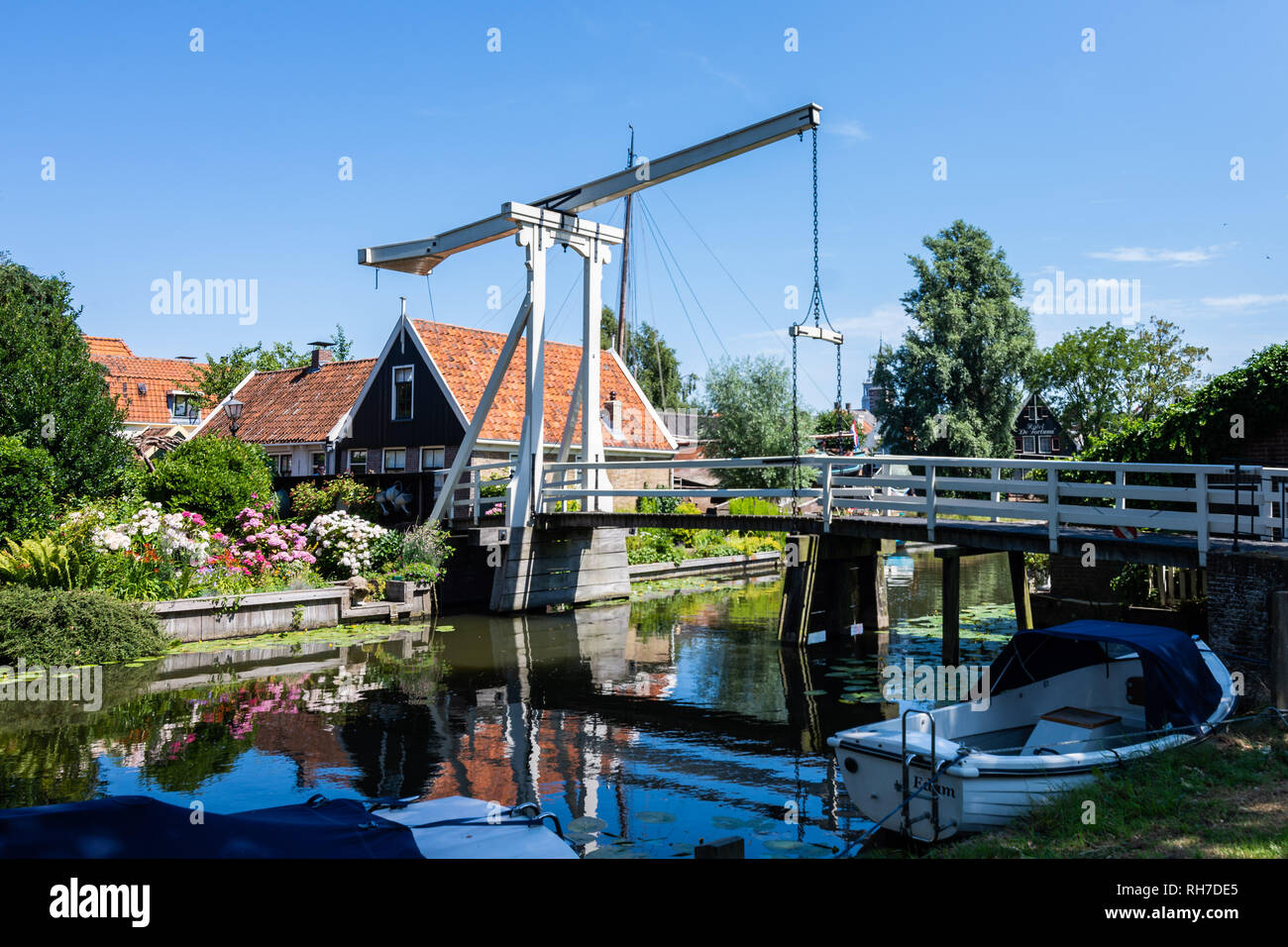 Nice bridge reflected in the water. Edam. Netherlands. Europe - Stock Image